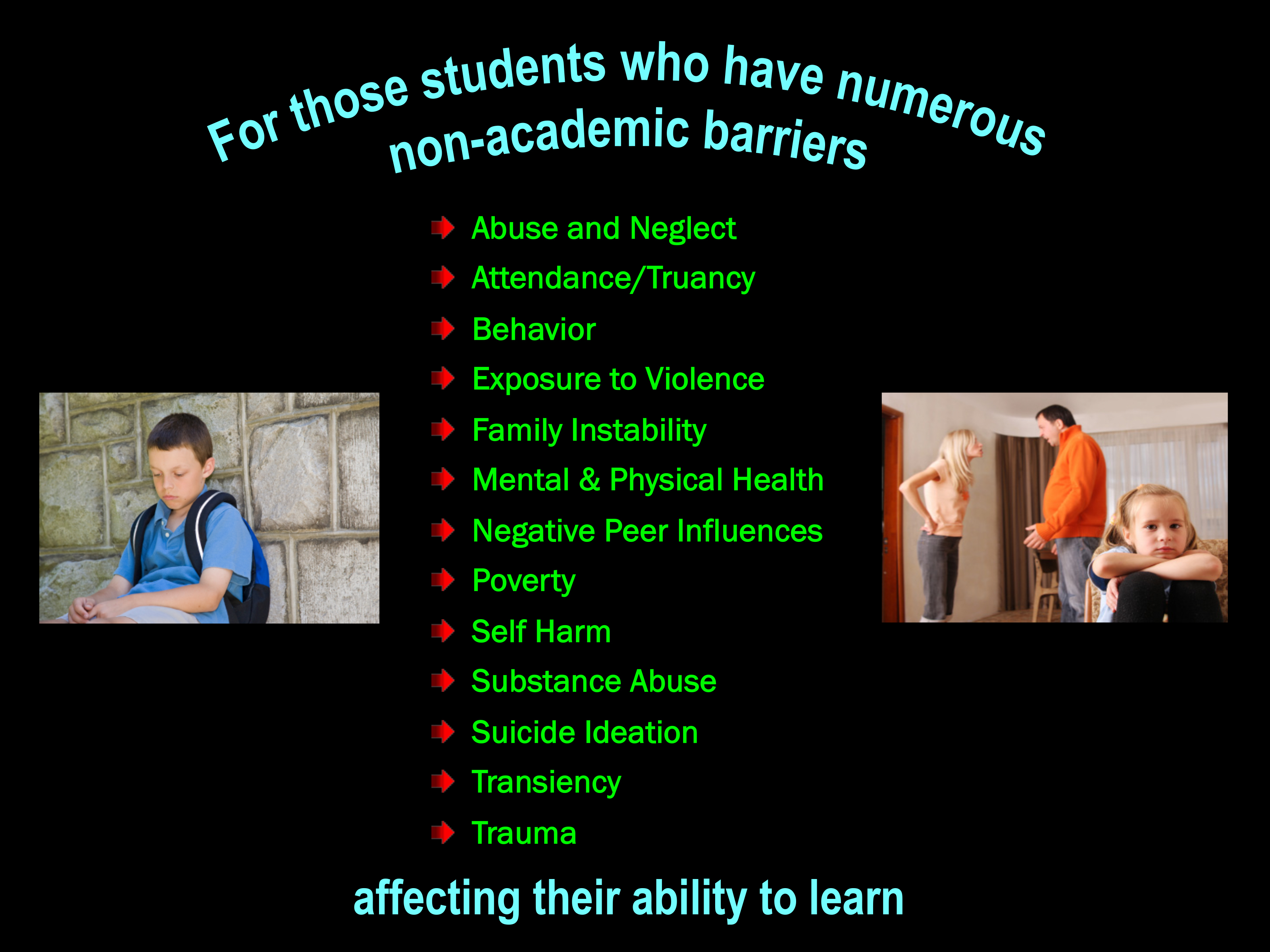 For students who have numerous non-academic barriers