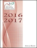 2016-17 Annual Report cover: ESC logo and year on red dot pattern background